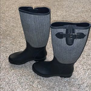 Banana Republic Houndstooth Rubber Rain Boots Sz 8